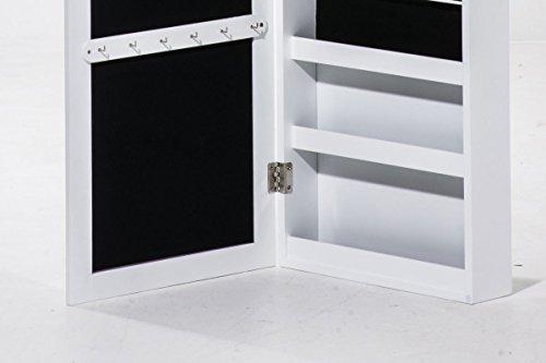 CLP Schmuckschrank SUAREZ mit Spiegel | Spiegelschrank mit Haken für Ketten und Steckplätzen für Ringe Weiß - 4