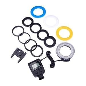 Kaavie -48 pcs Macro Ring Flash LED avec écran LCD (flash anneau) pour Canon Nikon Olympus Pentax (La lumière de soutien continu et flash)
