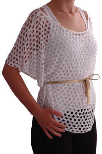 EyeCatch - Haut manches chauve souris en lainage crochet - Femme Blanc