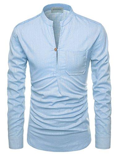 Nearkin Herren Freizeit-Hemd, Durchgehend Gr. Small, NKNKN351-SKY (And Tall Dress S Big Men Shirts ')