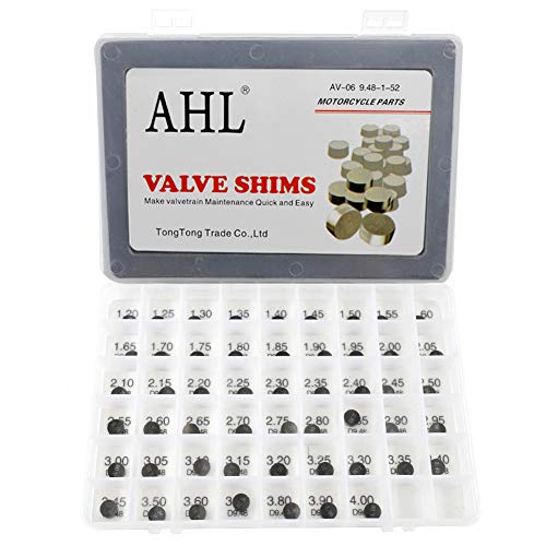 AHL 52pcs 9.48mm O.D. 1.20mm-4.00mm Thick Adjustable Valve Shim Kit for Yamaha TDM850 1992-1993 Test