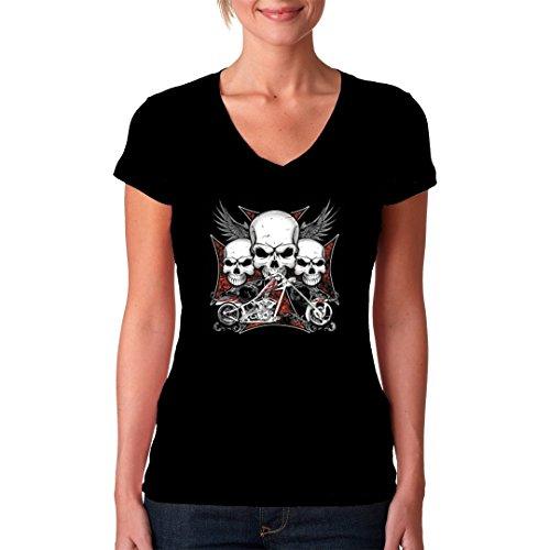 Biker Girlie V-Neck Shirt - Skulls Iron Cross Chopper by Im-Shirt Schwarz