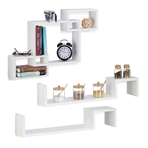 3 tlg. Hängeregal Set weiß, Wandregal Cube, Würfelregal Holz, Dekoregal hängend, Holzregal zum Hängen, MDF, white