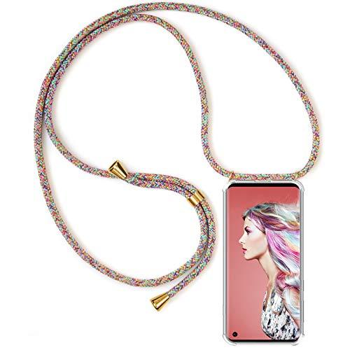 ZhinkArts Handykette kompatibel mit Samsung Galaxy S10 - Smartphone Necklace Hülle mit Band - Schnur mit Case zum umhängen in Rainbow