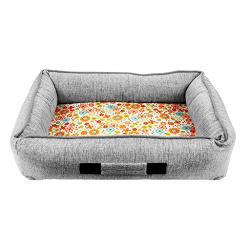 Traditionelle Memory-schaum (YSSY Summer Pet Gel Ice Pad Haustierbett, feuchtigkeitsbeständiges herausnehmbares Haustier-Nest, rechteckiges Haustier-Nest aus Memory-Schaum, abnehmbare Bettdecke, Maschinenwäsche in Grau)