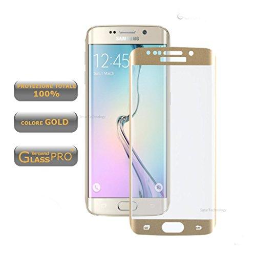 Smartechnology - Protector de pantalla de cristal templado para Samsung Galaxy S6Edge Plus - Color oro - Protección total - Cobertura total de los bordes