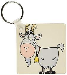 3dRose Cartoon Billy Goat Funny Animal Cartoon - Key Chains, 2.25 x 2.25 inches, set of 2 (kc_118516_1)
