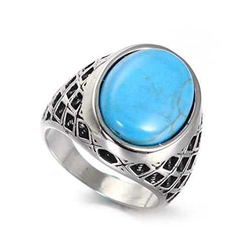 ZhongDa Ring, Edelstahl Herren Türkis Edelstein Ging Vintage Runde Titan Stahl Herrenring