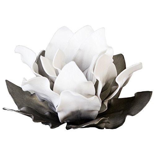 Mousse artificielle fleur diamètre: 20 cm-couleur: blanc/gris