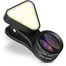 intey Lente para móvil con lampara LED, tiene tres intensidades diferentes y lente gran angular, podrá tomar fotos mas nítidas e iluminar su belleza con poca luz.