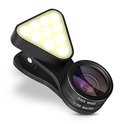 Galleria fotografica INTEY Obiettivi Cellulari 2 In 1 Lenti Smartphone con LED 3 Livelli Luce Regolabile, 0.65 x Lente Grandangolo+ 10 x Lente Macro per iPhone, Samsung, Huawei, Asus ecc.