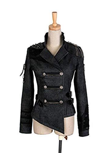 Double-breasted-design (Punk Steampunk Langarm Jacke Mantel für Frauen mit Epaulet Double breasted unregelmäßigen Design kurzen Mantel Black 2XL)