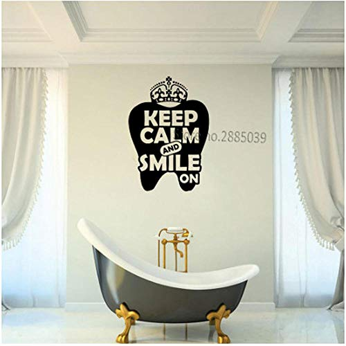 Neuheiten Zahnarztpraxis Zitate Behalten Sie Ruhe und Lächeln Vinyl Wandtattoo Zähne Oral Interior Wandaufkleber