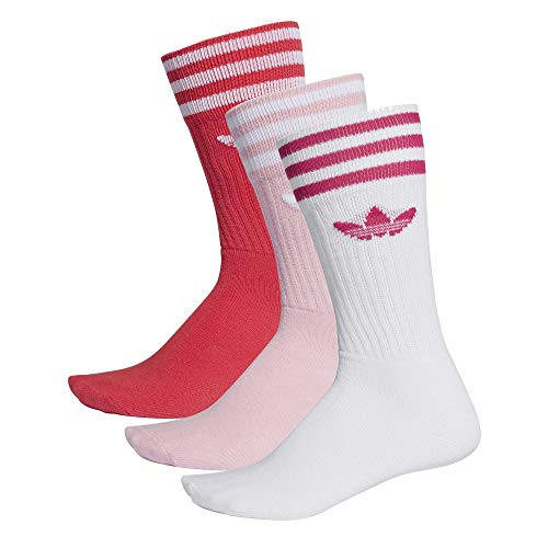 ADIDAS Solid Crew Socks Socken 3er Pack (27-30, red/pink/White)