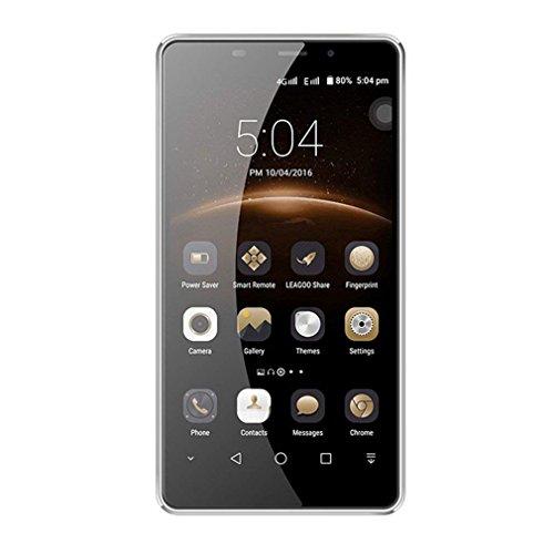 LEAGOO M8 3G Smartphone Ohne Vertrag 5.7 Zoll FHD 5 Punkt Touch großes Display MT6580A Quad Core Dual SIM 2GB RAM+16GB ROM G-Sensor OTG 13 MP+8 MP Kameras Fingerabdrucksensor(grau)