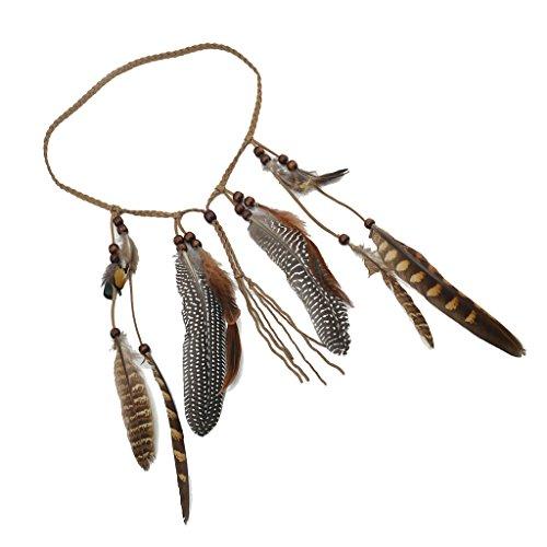 Haarband Haarkette mit Braun Federn geflochtene Perlen Kostüm Headwear Festival Haarschmuck (Indische Stammes Kostüme)