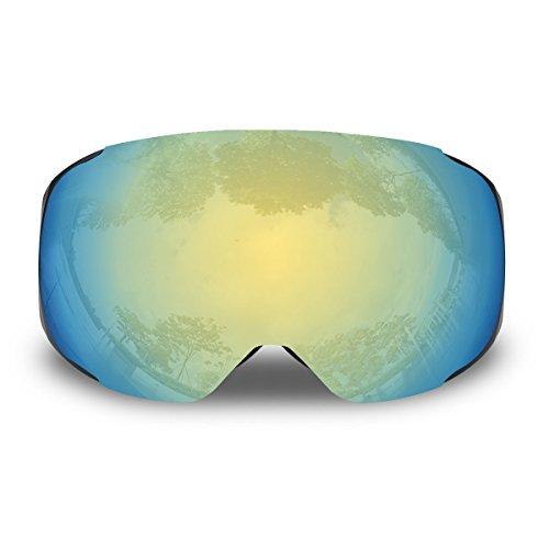 Trideer 100% UV-Schutz Skibrille Snowboardbrille Schneebrille Sportbrille, Anti-Fog Ski Goggles für Herren Damen Kinder (#3 Golden+Silber (Es gibt Ersatz Linse))