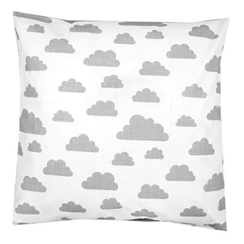 TupTam Kissenhülle Dekorativ Gemustert Dekokissen Baumwolle, Farbe: Weiß Graue Wolken, Größe: 80x80 cm
