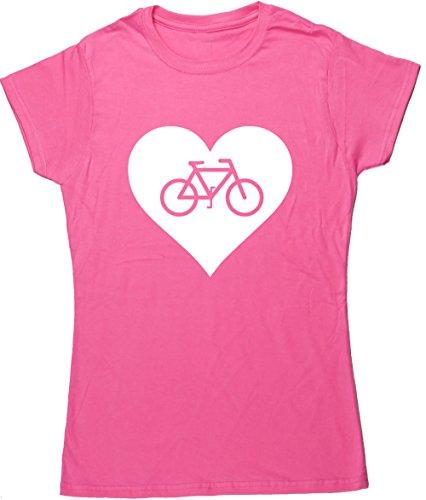 Radfahren Fitted T-shirt (Hippowarehouse Herz Damen Fitted Kurz Sleeve Cycling T-Shirt (bestimmte Größenangaben in der Beschreibung) Gr. Medium, Rose)