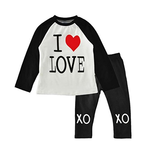 Culater® Per bambini Bambini Ragazze fototecnica vestiti stampa a maniche lunghe T-shirt Tops + pantaloni lunghi 1Set (3/4T)