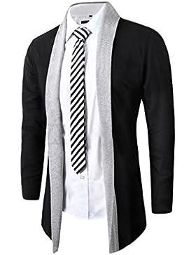 Casual Manga Larga Cárdigans para Hombre, Honghu Ocio Collar de Solapa Sweater Outwear Gris claro 2XL