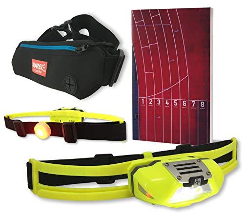 NiteView Stirnlampe zum Joggen mit Rücklicht, inkl. Neopren-Lauftasche und Lauftagebuch