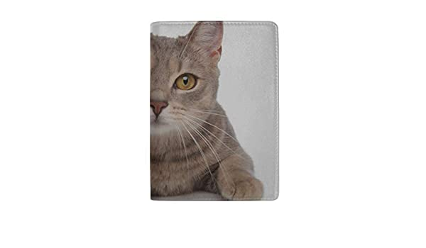Cute Lovely Hairy Cartoon Pet Cat Blocking Print Passport Holder Cover Case Travel Luggage Passport Wallet Card Holder Made With Leather For Men Women Kids Family