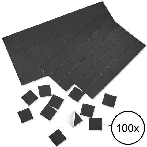 WINTEX 100 Magnetplättchen 20 mm x 20 mm x 1,2 mm, selbstklebend, haftstark, in schwarz | 2 Jahre Zufriedenheitsgarantie