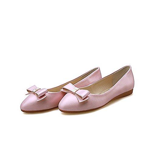 VogueZone009 Damen Rein Ohne Absatz Ziehen Auf Rund Zehe Flache Schuhe Pink