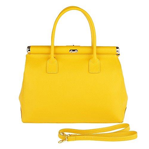 Chicca Borse Frau Handtasche mit Schultergurt aus echtem Leder Made in Italy 35x28x16 Cm Gelb