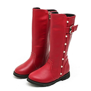 KeKaFu Girls' Shoes Real Leather Fall Winter Fluff Lining Fashion Boots Boots Mid-Calf Boots Rivet Buckle For Wedding Dress Red Gray Black