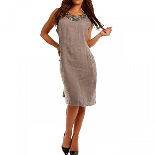 Damen Schlichtes Leinenkleid mit Perlen und Nietendekoration, Farbe:Beige;Größe:XL/XXL = 38/40 (Perlen Leinen Tunika)