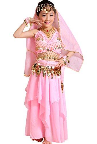 Astage Mädchen Kleid Kinder Bauchtanz Halloween Karneval Kostüm, Pink, S Fits 6-9 years (7 Von 9 Halloween Kostüm)