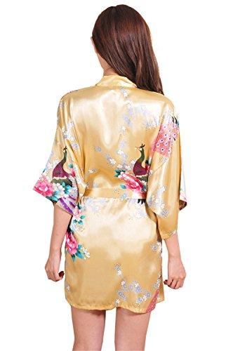 Yidarton Kimono Femme Fleurs Paon Modèle Soie Artificielle - Peignoir Femme Satin Cardigan Robe Chemise de Nuit Jaune