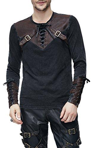 Devil Fashion Gothic Herren Punk Mode Langarmshirt Steampunk Retro Langen Ärmeln Tops Mit Gürtel Für Männer (Braun, XL)