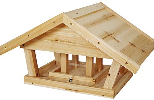 Mackys7 Vogelfutterhaus, Vogelhaus aus unbehandelten Holz, Neuentwickelte Futterstation, mit Durchsichtigen Futterbehälter als Vogelfutterspender, zusammengebaut