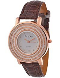 KMS Analogue White Dial Women's Watch - BROWN_Mxre_2RoundStone