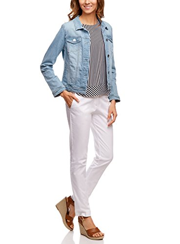 oodji Ultra Femme Veste Basique en Jean Bleu (7000W)