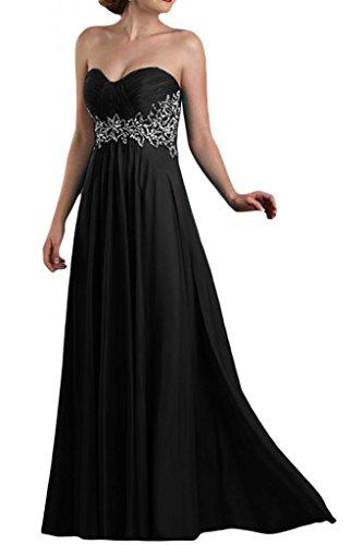 Dimensioni antiaderente a forma di cuore TOSKANA sposa Chiffon stanotte vestimento damigella Party Ball Bete extra lungo Nero