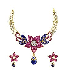 Zaveri Pearls Non-Precious Metal Multicolor Choker Necklace With Earrings Set For Women