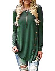 Bigood Pull Col Rond Femme Coton T-shirt Blouse Chemise Manche Longue Haut Top Sweat-shirt