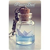 Collana bottiglia carta barca. Origami barca pendente, collana oceano, collana flacone in vetro. Collana carina. Stuffer della calza, regali per le donne
