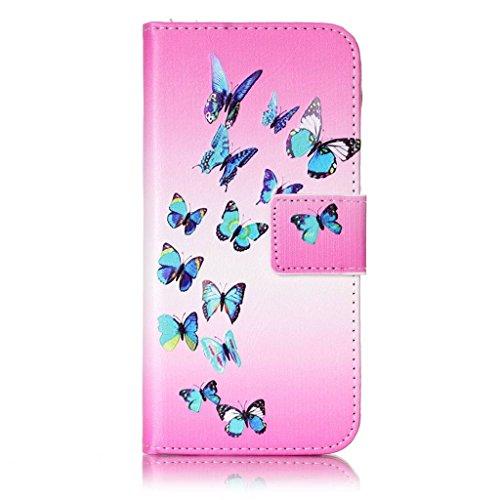 Custodia Iphone 7, con protezione per lo schermo in vetro temperato] antigraffio, fatcatparadise (TM) Custodia posteriore morbida in silicone, design colorato motivo magnetica PU in pelle porta carte  Blue Butterfly