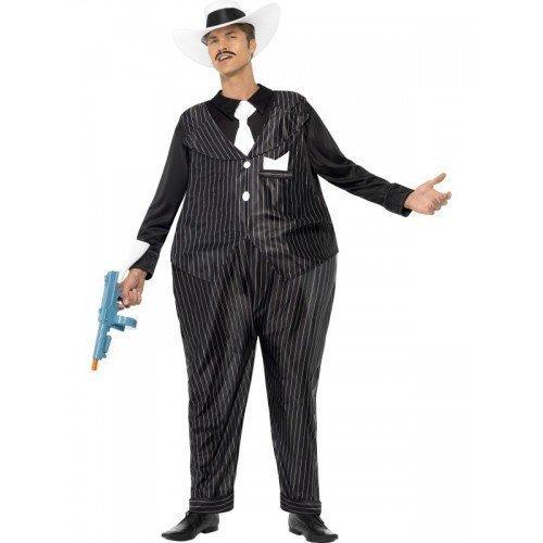 Herren Fat Cat Geringelt Gangster 1920s 30s Bugsy Malone Kostüm Kleid Outfit
