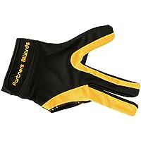 Sharplace Guantes Deportivo de Snooker Billar de 3 Dedos Elegante Elastico Mano Derecha Ligero - Amarillo Negro