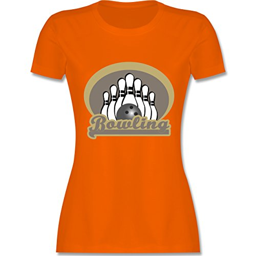 Bowling & Kegeln - Bowling Old School - tailliertes Premium T-Shirt mit Rundhalsausschnitt für Damen Orange