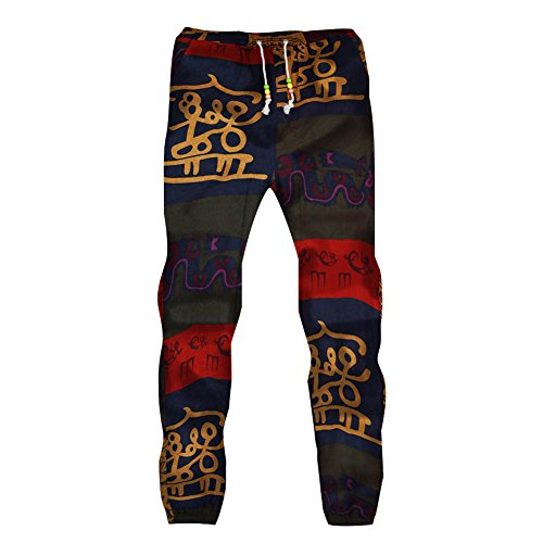 Men's Slim Fit Jogging Bottoms - Floral Pattern Skinny Tracksuit With Drawstring Narrow Feet Bodybuilding Trousers Running Yoga Training Gym Sweat Pants Bottoms