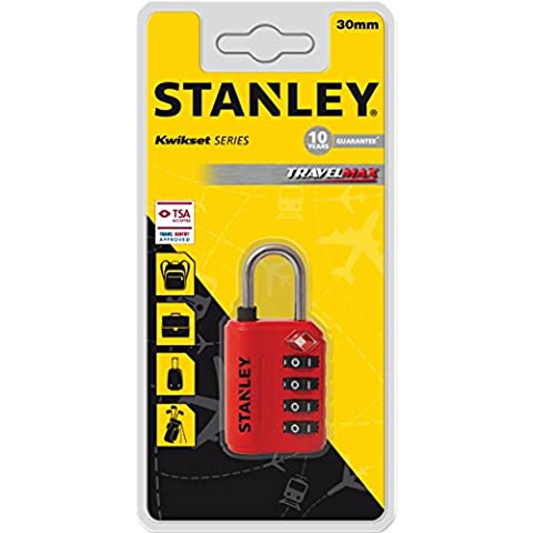 Stanley 81151393401 Lucchetto TSA a 4 Cifre, 30 mm, Rosso