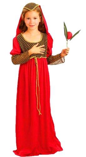 Fancy Ole - Mädchen Girl Karneval Kostüm- Mittelalter Julia Gewandung Waldläuferin Magd Märchen, rot gold, 10-11 Jahre