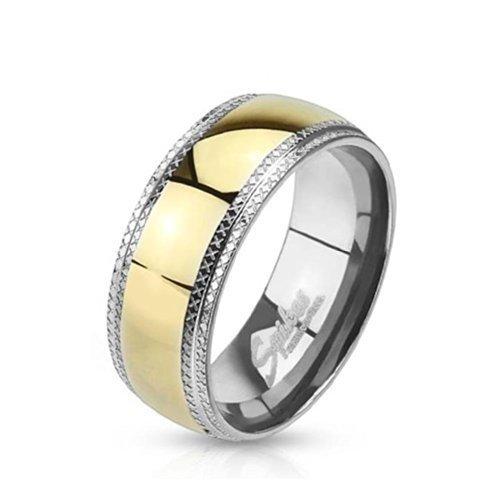 Tapsi´s Coolbodyart®| Dome Ring Edelstahl Silber Gold Poliert Kanten Geätzt 47(15)-72(23)
